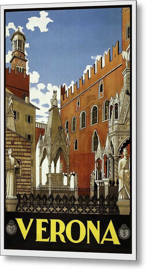 Stylized Vintage Verona Travel Poster - Metal Print from Wallasso - The Wall Art Superstore