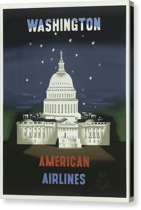 Stylized Vintage Washington DC Capitol Building American Airlines Travel Poster - Canvas Print from Wallasso - The Wall Art Superstore