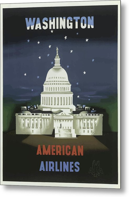 Stylized Vintage Washington DC Capitol Building American Airlines Travel Poster - Metal Print from Wallasso - The Wall Art Superstore