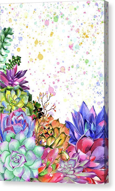 Succulent Bouquet With Paint Drops - Canvas Print from Wallasso - The Wall Art Superstore