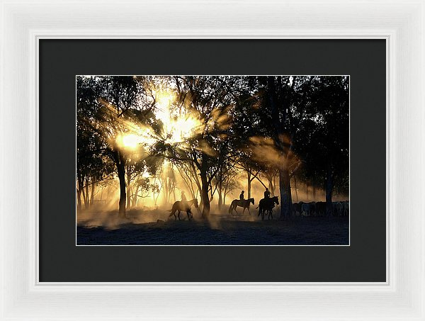 Sunlight Streaming Through Trees With Cowboys and Horses - Framed Print from Wallasso - The Wall Art Superstore