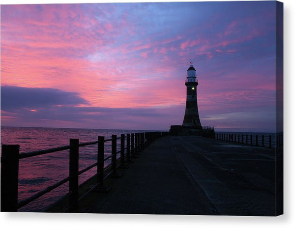 Sunrise Over A Lighthouse - Canvas Print from Wallasso - The Wall Art Superstore