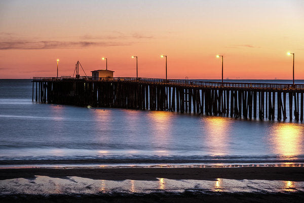 Sunset Over Pacific Ocean At The Pier In Pismo Beach, California - Art Print from Wallasso - The Wall Art Superstore