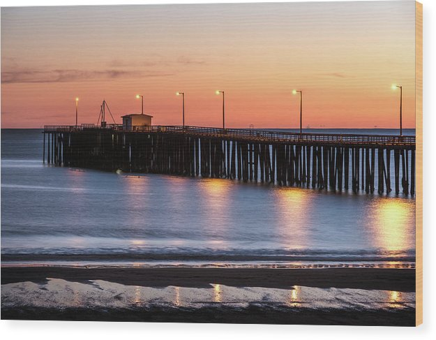 Sunset Over Pacific Ocean At The Pier In Pismo Beach, California - Wood Print from Wallasso - The Wall Art Superstore