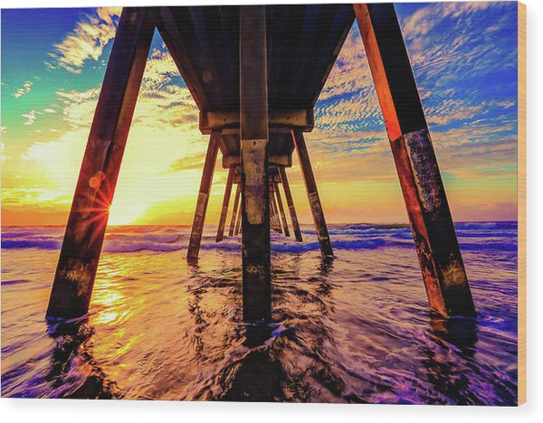 Super Colorful Underside of Pier - Wood Print from Wallasso - The Wall Art Superstore
