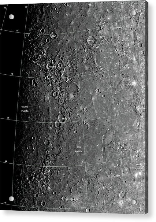 Surface of Planet Mercury - Acrylic Print from Wallasso - The Wall Art Superstore