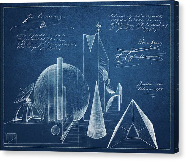 Surreal Blueprint Design Sketch - Canvas Print from Wallasso - The Wall Art Superstore