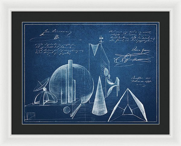Surreal Blueprint Design Sketch - Framed Print from Wallasso - The Wall Art Superstore