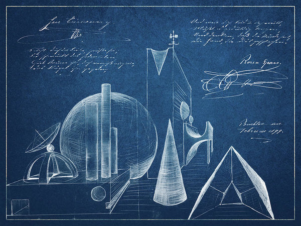Surreal Blueprint Design Sketch - Art Print from Wallasso - The Wall Art Superstore