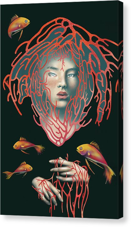 Surreal Girl With Coral and Koi Fish - Canvas Print from Wallasso - The Wall Art Superstore