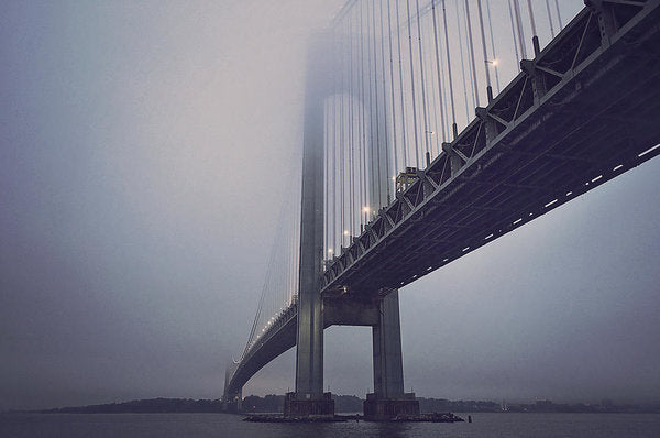 Suspension Bridge In Fog - Art Print from Wallasso - The Wall Art Superstore