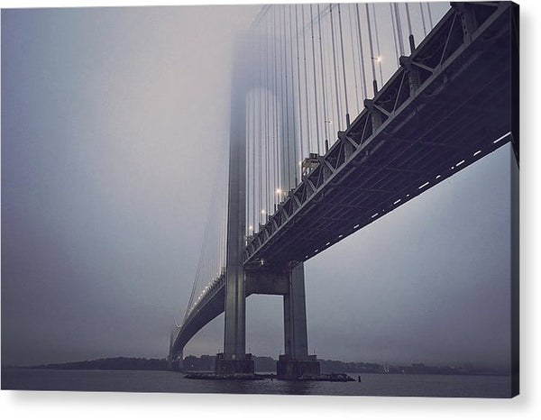 Suspension Bridge In Fog - Acrylic Print from Wallasso - The Wall Art Superstore