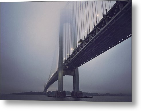 Suspension Bridge In Fog - Metal Print from Wallasso - The Wall Art Superstore
