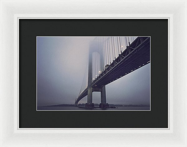 Suspension Bridge In Fog - Framed Print from Wallasso - The Wall Art Superstore