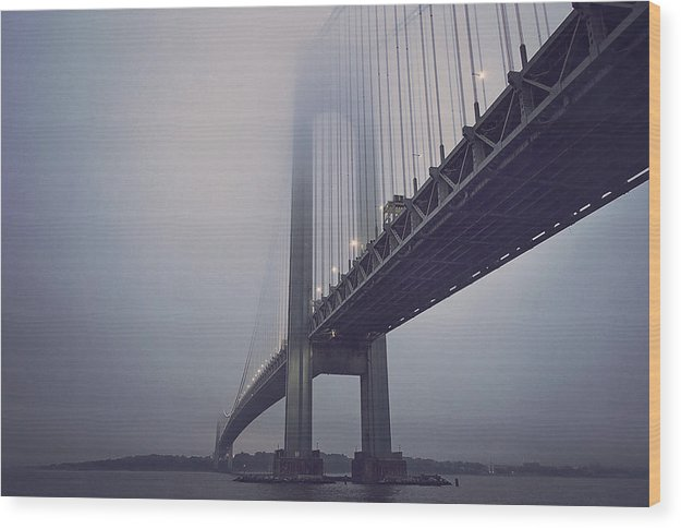 Suspension Bridge In Fog - Wood Print from Wallasso - The Wall Art Superstore