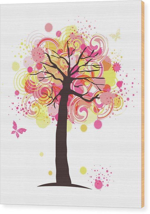 Swirly Colorful Tree For Kids - Wood Print from Wallasso - The Wall Art Superstore