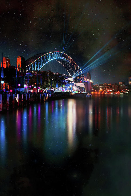 Sydney Harbor Bridge At Night With Stars - Art Print from Wallasso - The Wall Art Superstore