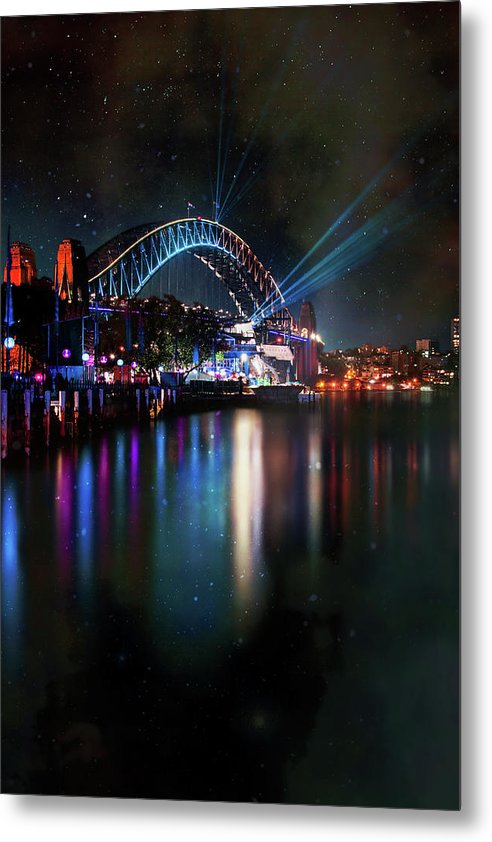 Sydney Harbor Bridge At Night With Stars - Metal Print from Wallasso - The Wall Art Superstore