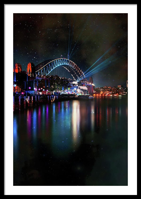 Sydney Harbor Bridge At Night With Stars - Framed Print from Wallasso - The Wall Art Superstore