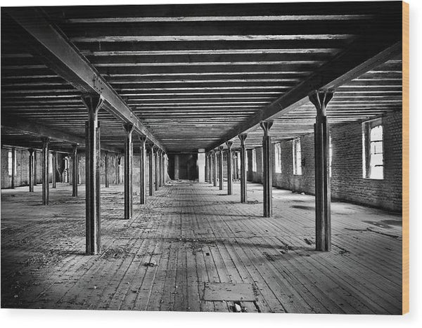 Symmetrical Abandoned Factory Floor - Wood Print from Wallasso - The Wall Art Superstore