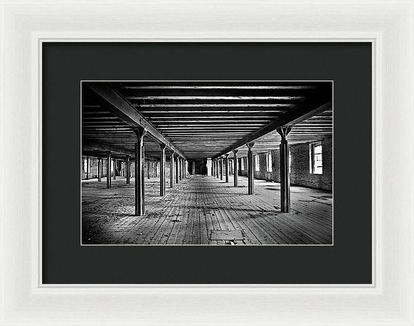 Symmetrical Abandoned Factory Floor - Framed Print from Wallasso - The Wall Art Superstore