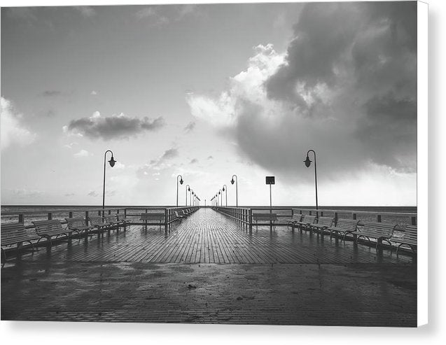 Symmetrical Boardwalk Pier With Lamp Posts - Canvas Print from Wallasso - The Wall Art Superstore