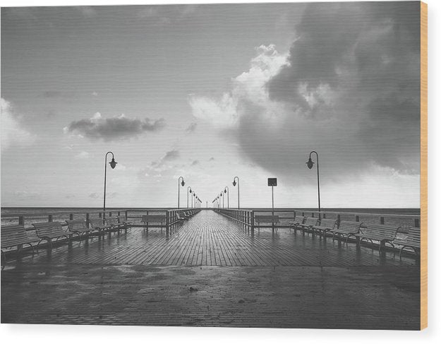 Symmetrical Boardwalk Pier With Lamp Posts - Wood Print from Wallasso - The Wall Art Superstore