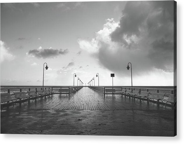 Symmetrical Boardwalk Pier With Lamp Posts - Acrylic Print from Wallasso - The Wall Art Superstore