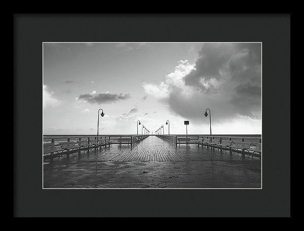 Symmetrical Boardwalk Pier With Lamp Posts - Framed Print from Wallasso - The Wall Art Superstore
