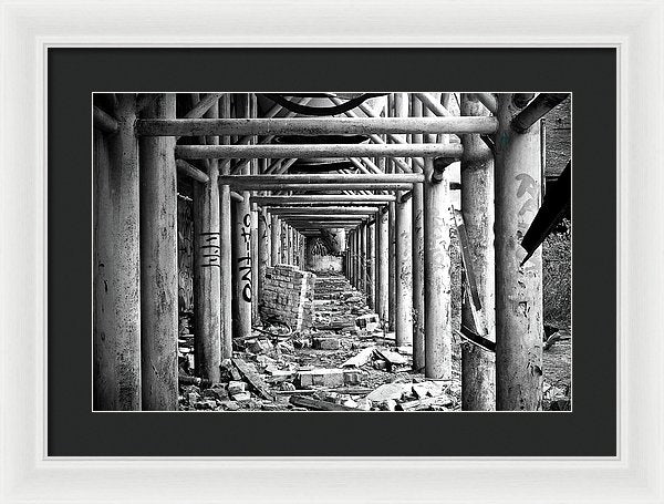 Symmetrical Square Metal Beams In Abandoned Factory - Framed Print from Wallasso - The Wall Art Superstore