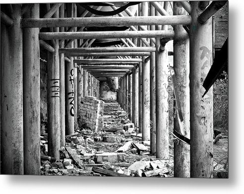 Symmetrical Square Metal Beams In Abandoned Factory - Metal Print from Wallasso - The Wall Art Superstore