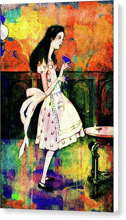 Tall Alice, Colorful Vintage Alice In Wonderland Illustration - Canvas Print from Wallasso - The Wall Art Superstore