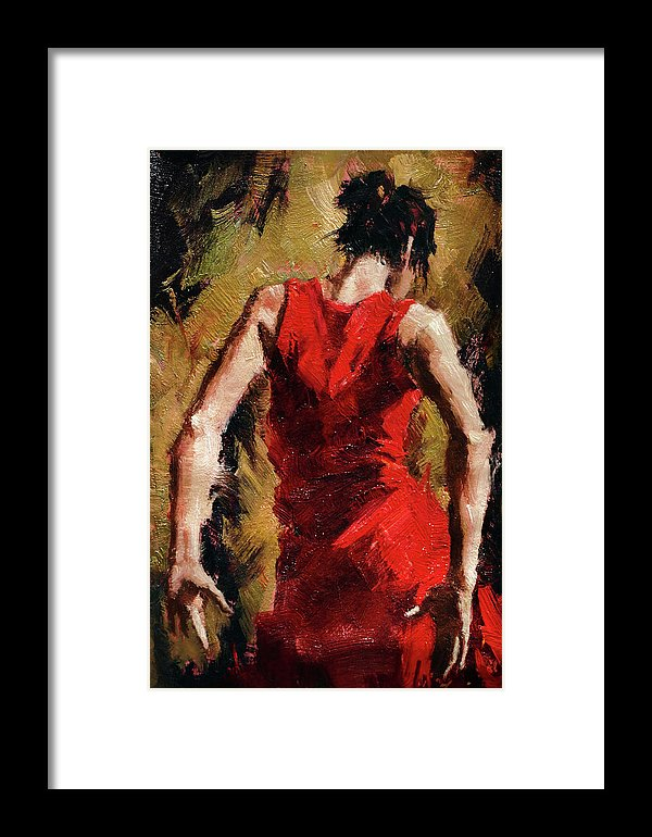 Tango Dancer In Red Dress Painting - Framed Print from Wallasso - The Wall Art Superstore