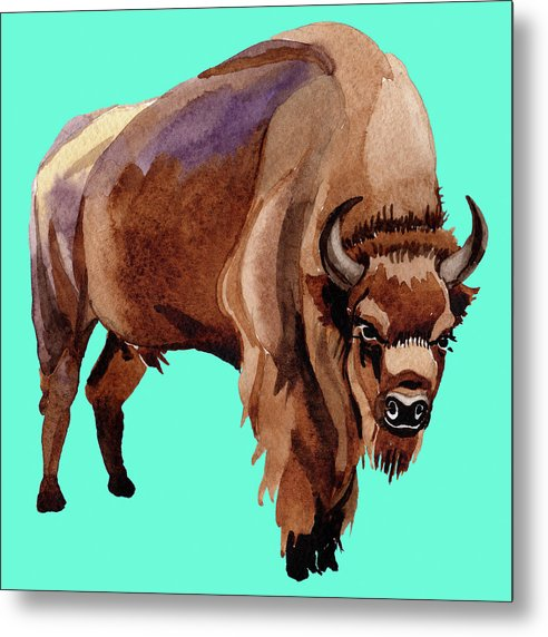 Teal Pop Art Buffalo Watercolor Painting - Metal Print from Wallasso - The Wall Art Superstore