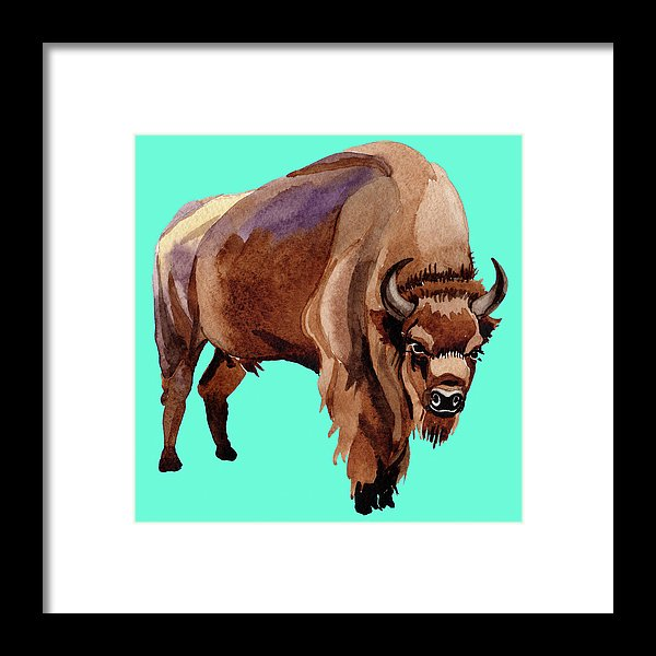 Teal Pop Art Buffalo Watercolor Painting - Framed Print from Wallasso - The Wall Art Superstore