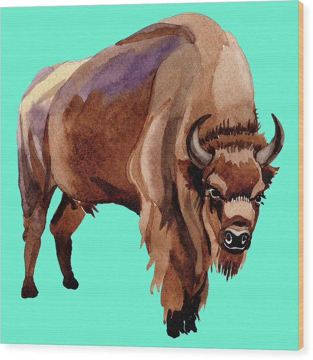 Teal Pop Art Buffalo Watercolor Painting - Wood Print from Wallasso - The Wall Art Superstore