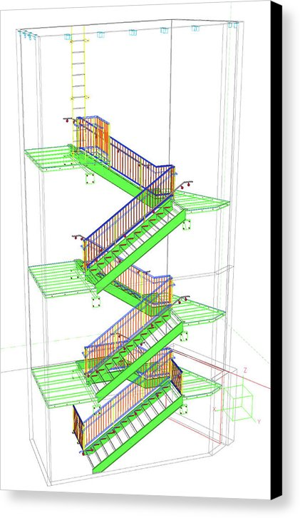 Technical Staircase Illustration - Canvas Print from Wallasso - The Wall Art Superstore