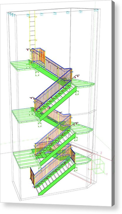 Technical Staircase Illustration - Acrylic Print from Wallasso - The Wall Art Superstore