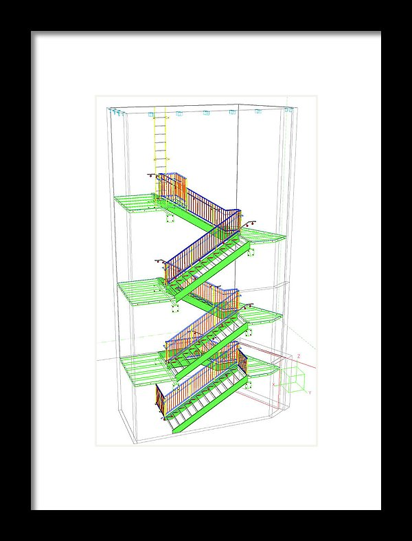 Technical Staircase Illustration - Framed Print from Wallasso - The Wall Art Superstore