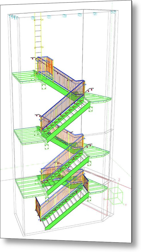 Technical Staircase Illustration - Metal Print from Wallasso - The Wall Art Superstore