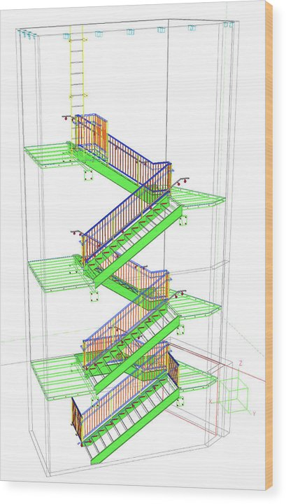 Technical Staircase Illustration - Wood Print from Wallasso - The Wall Art Superstore