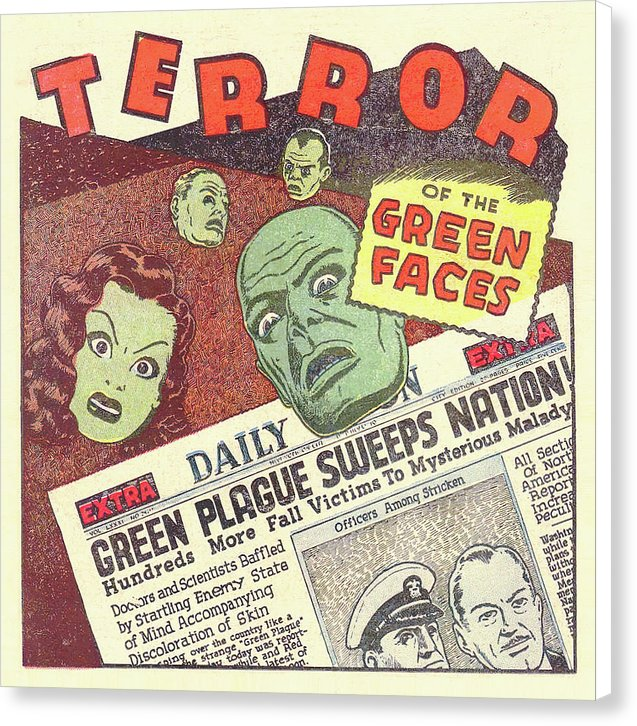 Terror of The Green Faces, Vintage Comic Book - Canvas Print from Wallasso - The Wall Art Superstore