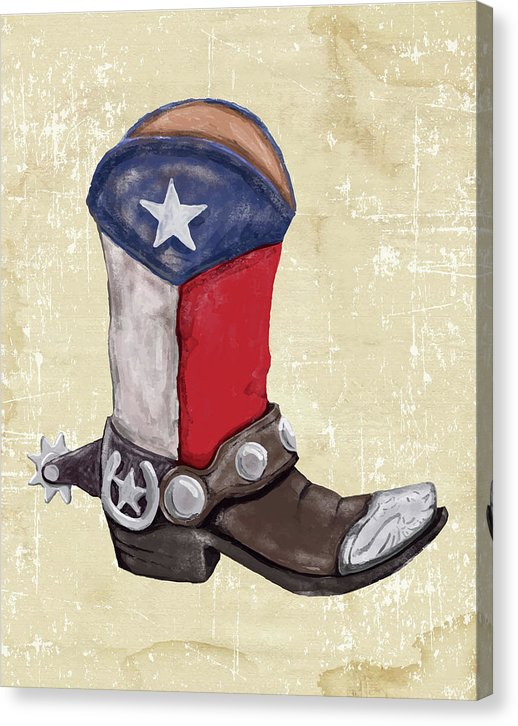 Texas Cowboy Boot Watercolor Painting - Canvas Print from Wallasso - The Wall Art Superstore