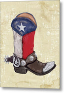 Texas Cowboy Boot Watercolor Painting - Metal Print from Wallasso - The Wall Art Superstore