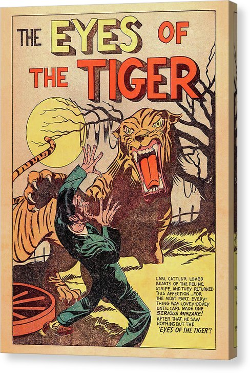 The Eyes of The Tiger, Vintage Comic Book - Canvas Print from Wallasso - The Wall Art Superstore