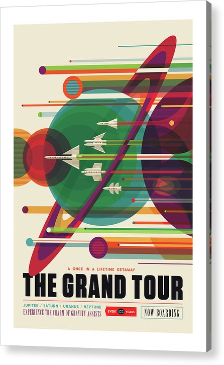 The Grand Tour Visions of The Future Vintage Travel Poster - Acrylic Print from Wallasso - The Wall Art Superstore