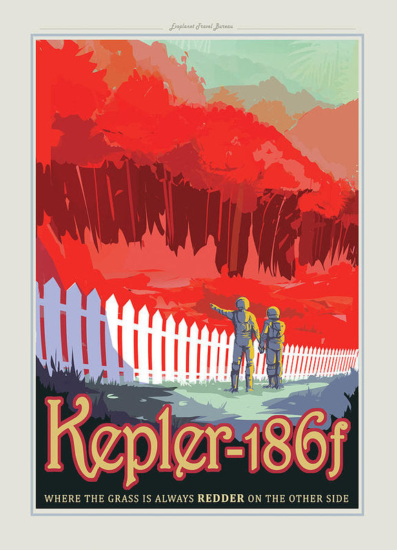 The Grass Is Redder Kepler-186f Visions of The Future Vintage Travel Poster - Art Print from Wallasso - The Wall Art Superstore
