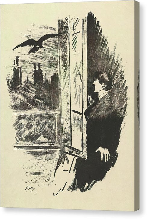 The Raven by Edgar Allan Poe Vintage Art by Edouard Manet - Canvas Print from Wallasso - The Wall Art Superstore
