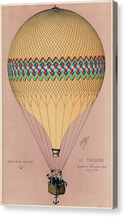 The Tricolor Balloon Ascension In Paris, June 6th 1874. Original - Canvas Print from Wallasso - The Wall Art Superstore