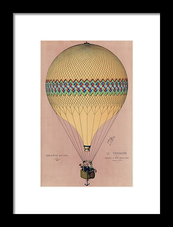 The Tricolor Balloon Ascension In Paris, June 6th 1874. Original - Framed Print from Wallasso - The Wall Art Superstore